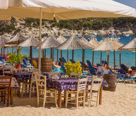 background settings: Restaurant on the sand beach, Summer vacation .