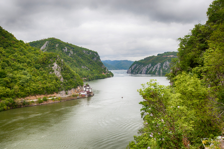 Danube river landscape, Serbia and Romania border ,narrowest part of the gorge on the Danube , also known as the Iron Gate.
