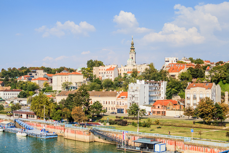 Panoramic view of Belgrade, cityscape old part of the city and river Sava, capital city of Serbia, blue sky and clouds in backgrounds, day light.