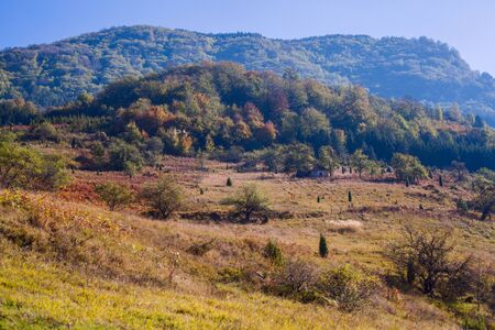 Rural autumn landscape, beautiful view on hills and forest. Location Serbia.