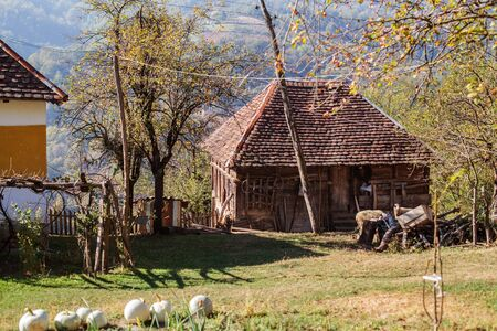 Rural house in a small village in Serbia. Beautiful countryside view. Autumn sunny day
