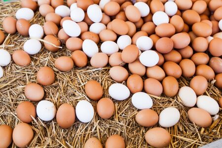 Fresh Domestic Eggs On Local Farmers Market Ready For Sale