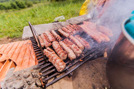 Grilling meat, Barbecue, BBQ party , camping food, outdoor activity 免版税图像