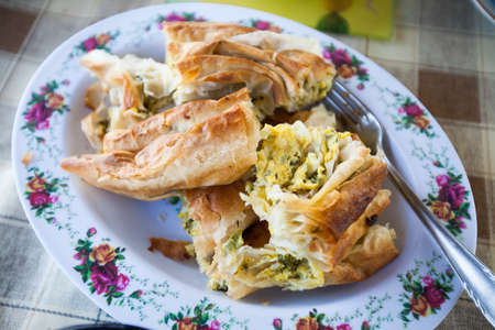 Traditional rustic handmade food fresh baked pie with cheese