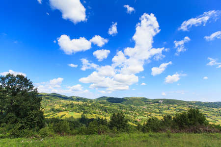 Beautiful nature landscape view, summer day, fresh air, amazing blue sky with clouds.