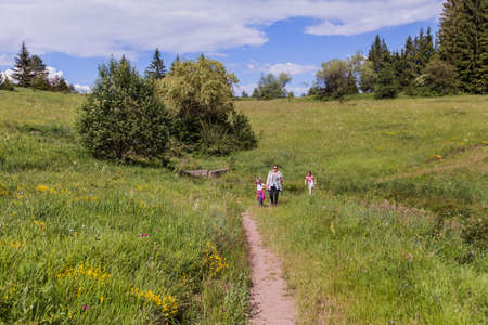 Family walking on beautiful meadows , summer day, nature landscape