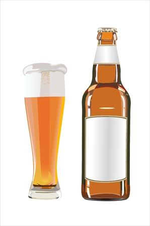 botellas de cerveza: botella y vaso de cerveza en el fondo blanco