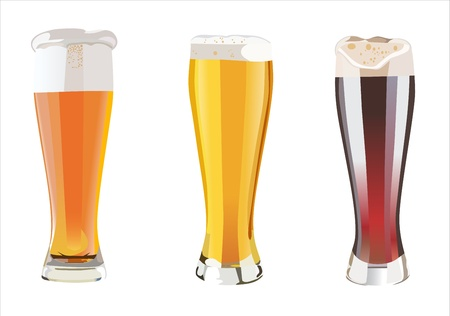 Beer into glass isolated on white. three options Stock Vector - 13928820