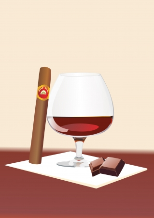 Cigar And Cognac Vector