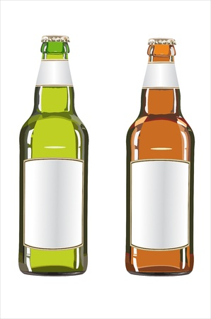 dewed: Green and brown beer bottles isolated on the white background