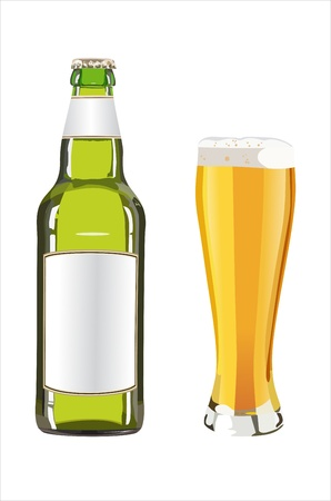 beers: bottle and glass with beer on white background Illustration