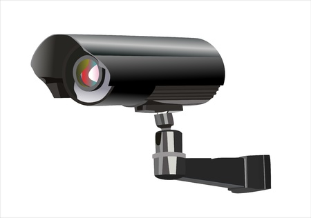 Caméra de surveillance vu de côté, isolé sur un fond blanc.