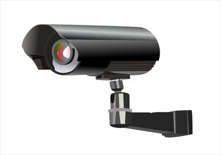 Surveillance camera van de zijkant gezien, geïsoleerd op een witte achtergrond.