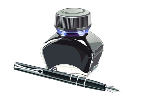 writing instrument: fountain pen with ink bottle