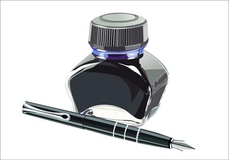 ink pot: Pluma estilogr�fica con una botella de tinta