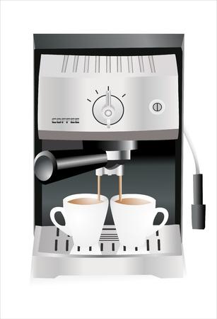 메이커: 에스프레소 기계는 흰색 배경에 격리 된 컵에 에스프레소 쏟아져