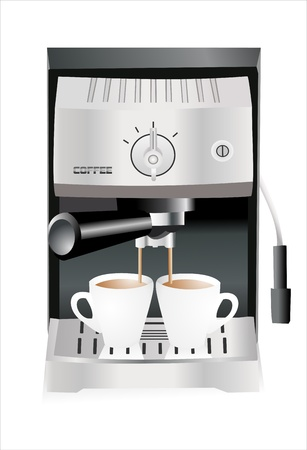 caffe: Espresso machine pouring espresso into the cups isolated on the white background Illustration