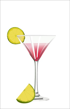 Cosmopolitan cocktail drink isolated on white background. Vector
