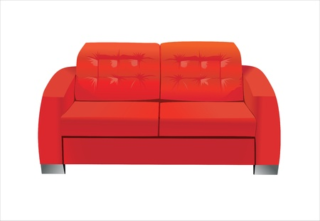 Red sofa on white background. Stock Vector - 13928754