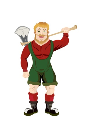 wood cutter: Cartoon lumberjack holding an axe.Isolated on white
