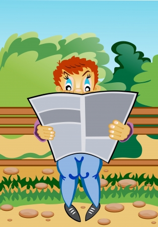 engrossed: Young readers sat on a bench in the park read a magazine