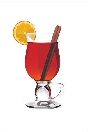 Hot mulled wine with orange slice and cinnamon sticks. Isolated on white. Vector