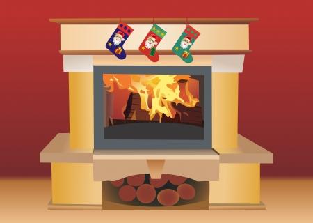 Kerst open haard Vector Illustratie