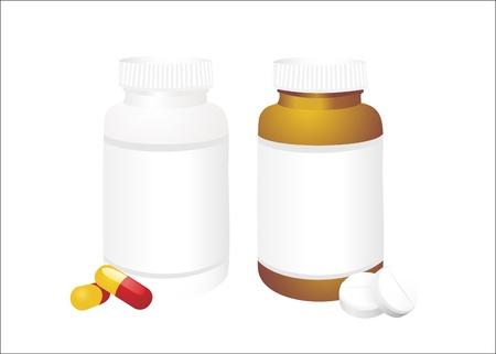 передозировка: Таблетки от бутылки на белом Иллюстрация