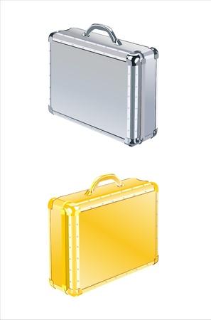 Aluminum suitcase isolated on white background Vector