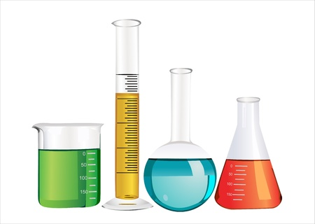 scientific experiment: Laboratory glassware isolated over white background Illustration