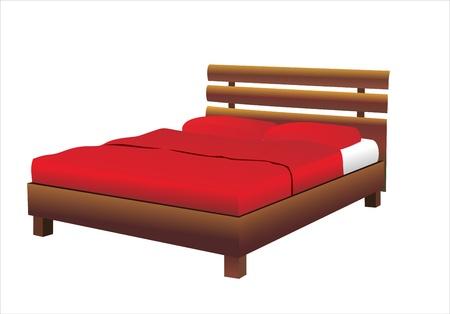 white pillow: Bed. Illustration