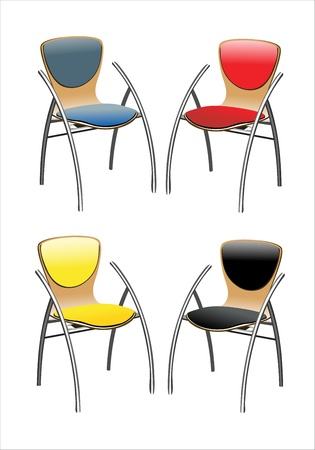 Colored set of stylish chairs. Illustration on white background Stock Vector - 13928753