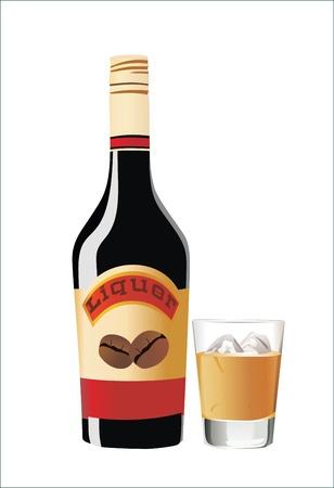 spilt: Liquor bottle and glass on a white background. Illustration