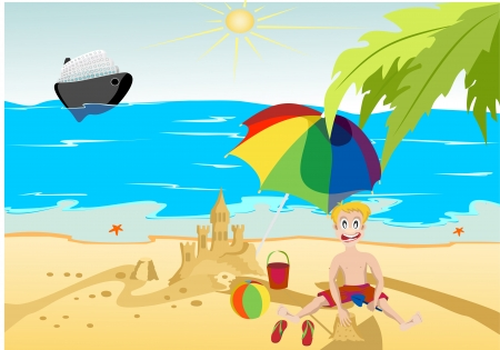 The boy on the beach built a sand castle on the background of the ocean steamer and palm trees Vector