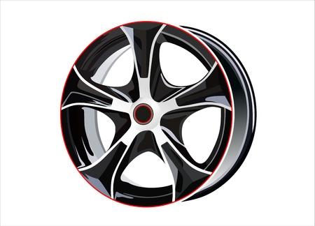 car tire: Autoband met velg op een witte achtergrond Stock Illustratie