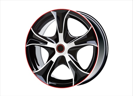 rim: Car tire with rim on a white background Illustration