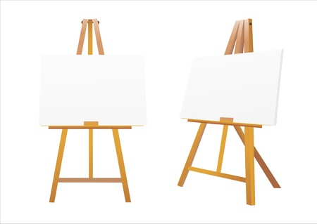 Isolated easel with empty canvas  Illustration