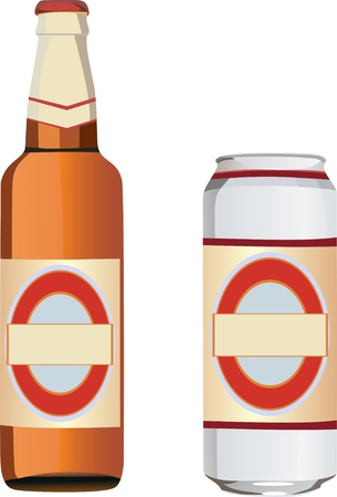 beer can and a bottle Vector