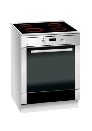 kitchen range: Electric cooker and oven, on a white background Illustration