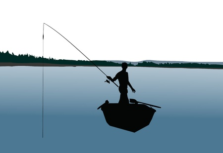 silhouette of fishermen Vector