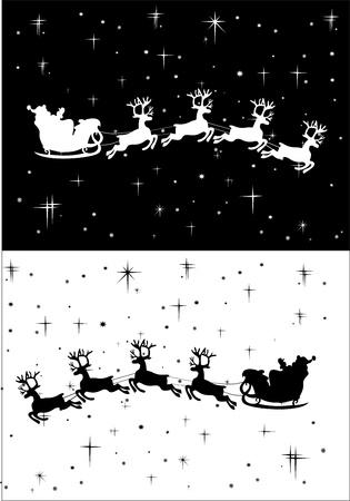 Santa Claus driving in a sledge Vector