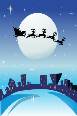 Santa Claus comes to city. Vector
