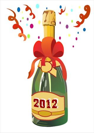 popping cork: Bottle of Champagne in 2012. Illustration