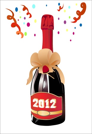 Bottle of Champagne in 2012. Vector
