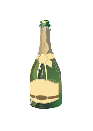 blank champagne bottle isolated on white background Stock Vector - 13928727