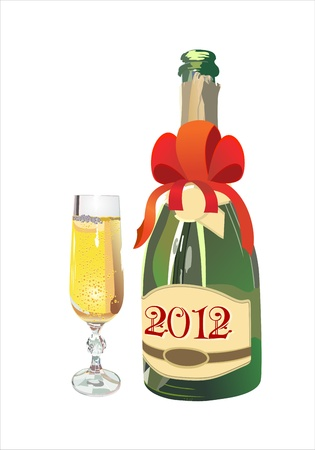 Bottle of Champagne in 2012 and New Year s drink Stock Vector - 13953882