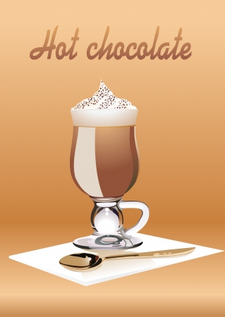 Hot Chocolate with cream. Vector