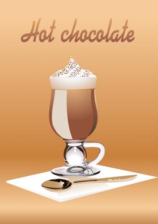 Warme chocolademelk met slagroom.