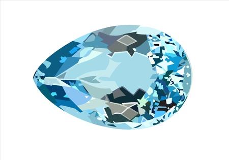 gemstones: blauwe saffier geïsoleerde witte Stock Illustratie