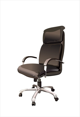 leather chair: Sill�n de oficina negro aisladas sobre fondo blanco.